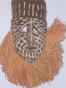 Face Mask, Ituri Forest Wood, raffia, paint Joseph A. Towles Collection